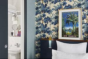 Chambre joliment décorée de l'hôtel Taylor