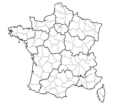 Carte des régions et département de France (VIERGE)